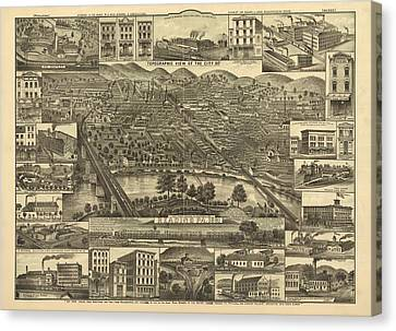 Reading Pennsylvania 1881 Canvas Print by Mountain Dreams