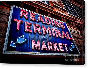 Reading Terminal Market Neon Sign Canvas Print by Olivier Le Queinec