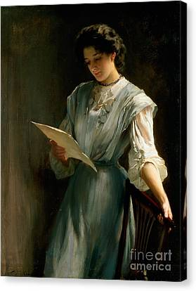Reading The Letter  Canvas Print by Thomas Benjamin Kennington