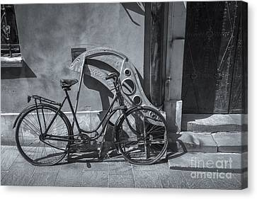 Old Style Bicycle On Urban City Street, Warsaw, Poland Canvas Print by Philip Preston