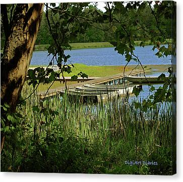 Indiana Landscapes Canvas Print - Ready To Row With No One To Go  by DigiArt Diaries by Vicky B Fuller