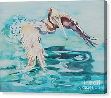 Canvas Print featuring the painting Ready To Take Off by Mary Haley-Rocks
