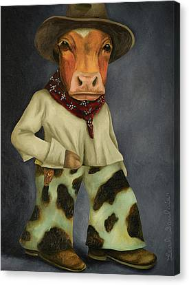 Canvas Print featuring the painting Real Cowboy 2 by Leah Saulnier The Painting Maniac