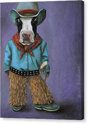 Canvas Print featuring the painting Real Cowboy by Leah Saulnier The Painting Maniac