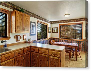 Canvas Print featuring the photograph Real Estate Kitchen And Dining Room by James Eddy