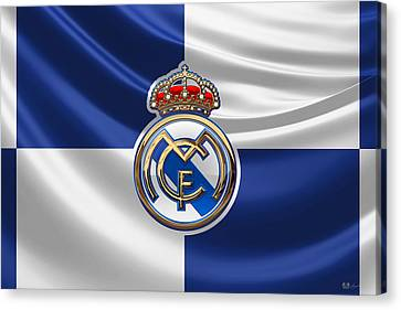 Real Madrid C F - 3 D Badge Over Flag Canvas Print