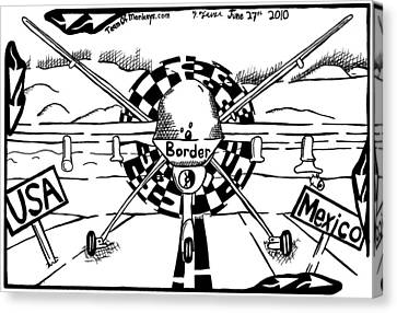 Reaper Drone For The Us Mexico Border By Yonatan Frimer Canvas Print by Yonatan Frimer Maze Artist