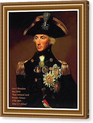 Rear- Admiral Lord Horatio Nelson - 1758-1805 After L F Abbott. P A With Decorative Printed Frame. Canvas Print by Gert J Rheeders
