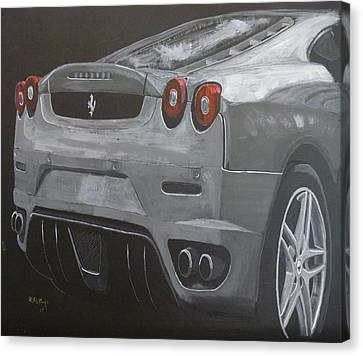 Canvas Print featuring the painting Rear Ferrari F430 by Richard Le Page