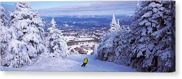 Rear View Of A Person Skiing, Stratton Canvas Print