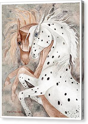Rearing Chestnut And Appaloosa Canvas Print by Suzanne Joyner