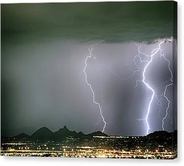 Reata Pass City Lights Lightning Strikes Canvas Print