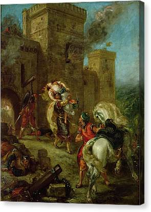 Rebecca Kidnapped By The Templar Canvas Print by Ferdinand Victor Eugene Delacroix