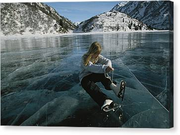 Rebecca Quinton Laces Up Her Ice Skates Canvas Print
