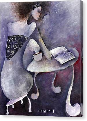Canvas Print featuring the painting Recipies Book by Maya Manolova