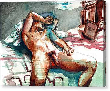 Nude Reclined Male Figure Canvas Print