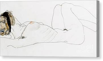 Reclining Female Nude Canvas Print by Egon Schiele