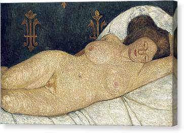 Reclining Female Nude Canvas Print by Paula Modersohn-Becker