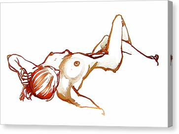 Ink Drawing Canvas Print - Reclining Female Nude by Roz McQuillan