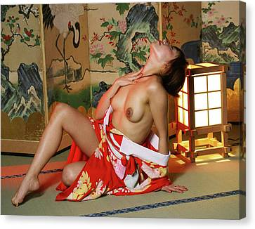 Reclining In Kimono Canvas Print by Tim Ernst