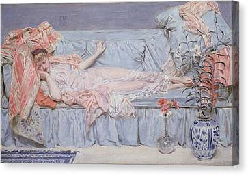 Reclining Model Canvas Print by Albert Joseph Moore