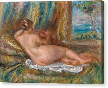 Reclining Nude Or Reclining Odalisque Canvas Print by Pierre Auguste Renoir