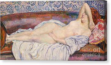 Reclining Nude  Canvas Print by Theo van Rysselberghe