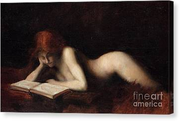 Reclining Nude Woman Reading A Book  Canvas Print