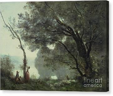 Louvre Canvas Print - Recollections Of Mortefontaine by Jean Baptiste Corot