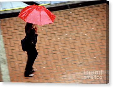 Red 1 - Umbrellas Series 1 Canvas Print by Carlos Alvim