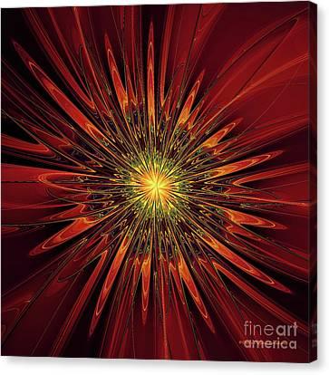 Red Abstract Flower Canvas Print by Deborah Benoit