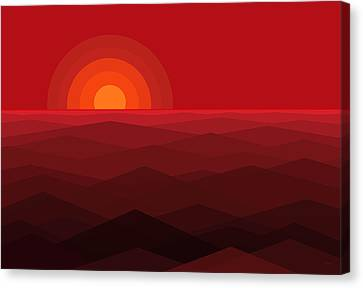 Red Abstract Sunset Canvas Print by Val Arie