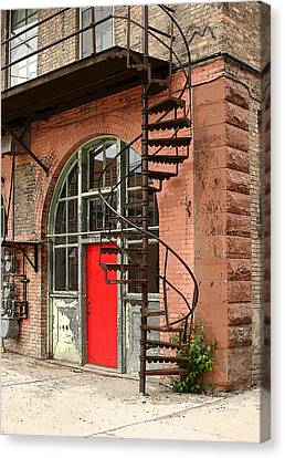 Red Alley Door Canvas Print