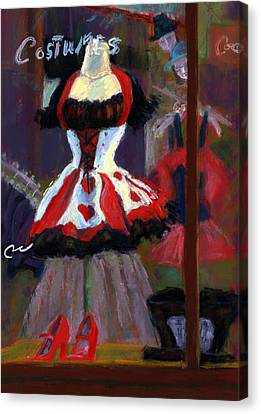 Red And Black Jester Costume Canvas Print by Cheryl Whitehall
