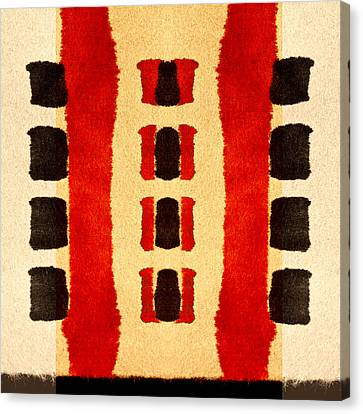 Red And Black Panel Number 3 Canvas Print by Carol Leigh