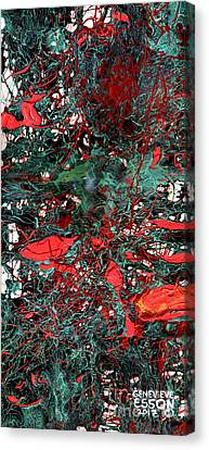 Red And Black Turquoise Drip Abstract Canvas Print by Genevieve Esson