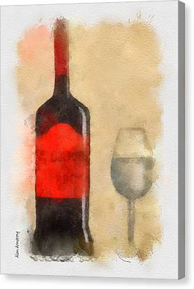 Red And Black Wine Bottle And Glass Canvas Print