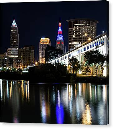 Canvas Print featuring the photograph Red And Blue In Cleveland by Dale Kincaid