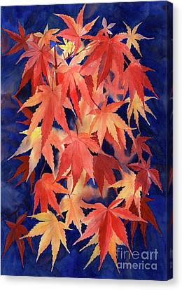 Red And Blue Maple Leaf Design Canvas Print by Sharon Freeman