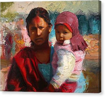 Red And Blue Portrait Of Nepalese Mother And Child Canvas Print by Karen Whitworth