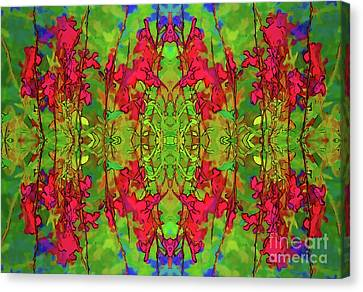 Canvas Print featuring the digital art Red And Green Floral Abstract by Linda Phelps