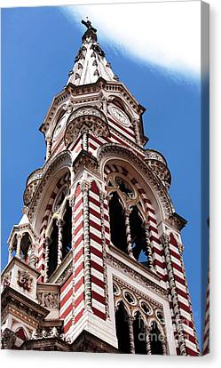 Red And White Church In Bogota Canvas Print by John Rizzuto