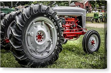 Red And White Ford Model 600 Tractor Canvas Print by Edward Fielding