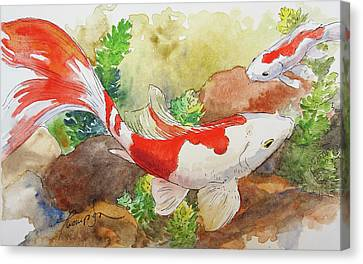 Red And White Goldfish Canvas Print by Tracie Thompson