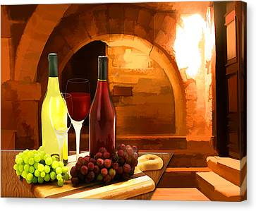 Red And White In The Cellar Canvas Print by Elaine Plesser
