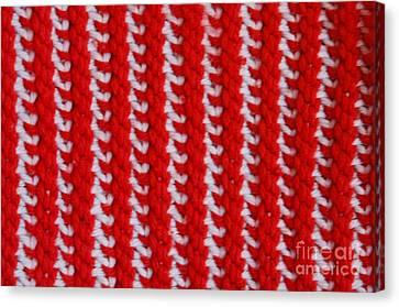 Red And White Knit Canvas Print