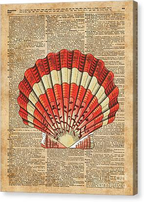 Collage Tapestries - Textiles Canvas Print - Red And White Ocean Sea Shell Dictionary Book Page Art by Jacob Kuch