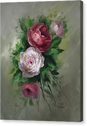 Red And White Roses Canvas Print by David Jansen