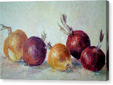 Red And Yellow Onions Canvas Print