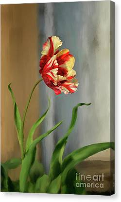 Red And Yellow Parrot Tulip Canvas Print by Lois Bryan